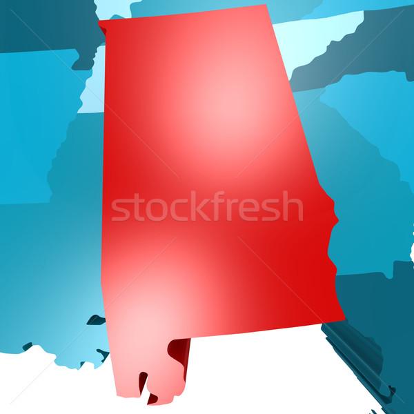 Алабама карта синий США изображение оказанный Сток-фото © tang90246