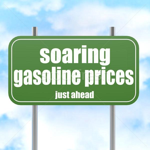 Zielone znak drogowy benzyny ceny słowo obraz Zdjęcia stock © tang90246