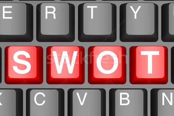 Red swot button on modern computer keyboard Stock photo © tang90246