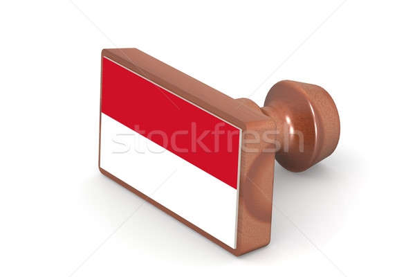 Wooden stamp with Monaco flag Stock photo © tang90246