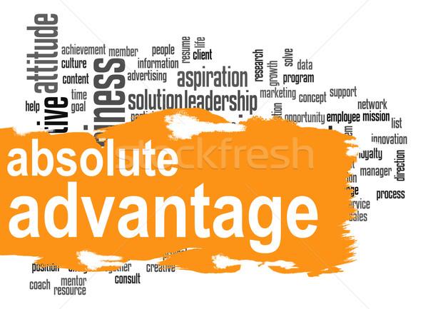 Ventaja nube de palabras naranja banner imagen prestados Foto stock © tang90246
