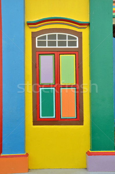Stock photo: Colorful windows and details on a colonial house in Little India