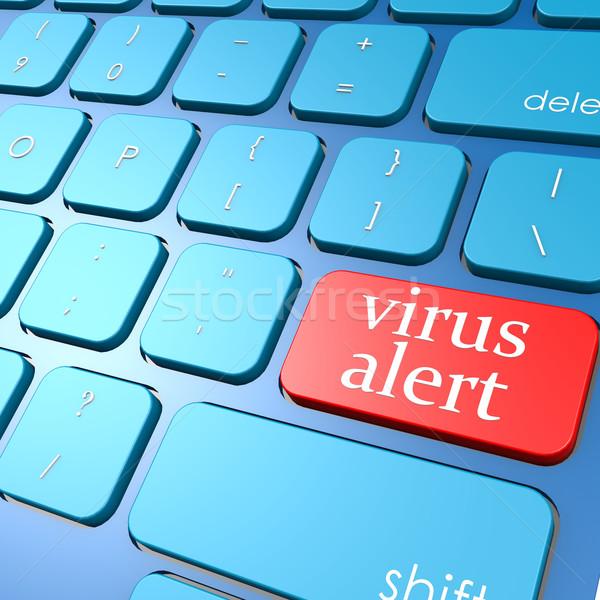 Vírus éber billentyűzet számítógép biztonság hálózat Stock fotó © tang90246