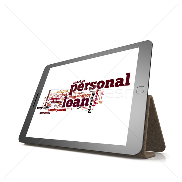 Stock photo: Personal loan word cloud on tablet