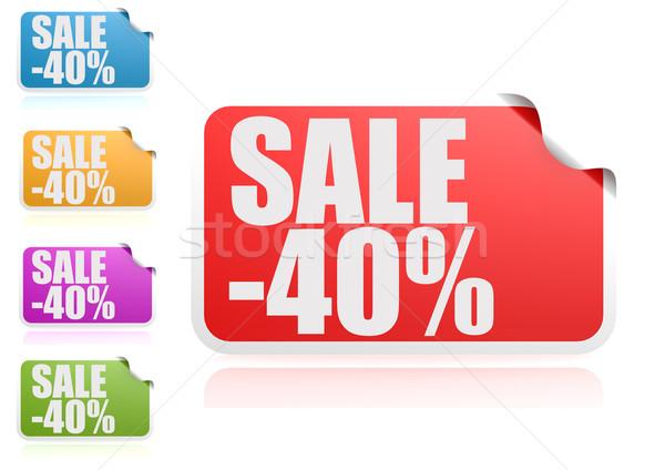Vásár 40 címke szett papír felirat Stock fotó © tang90246