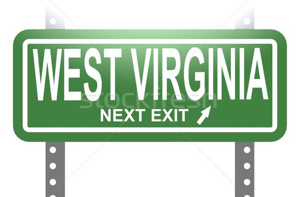 Nyugat-Virginia zöld felirat tábla izolált kép Stock fotó © tang90246