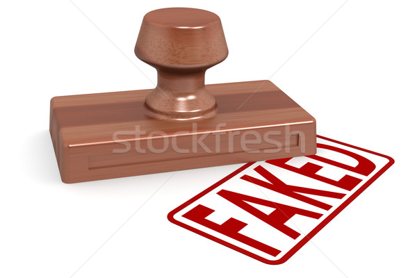 Wooden stamp faked with red text Stock photo © tang90246