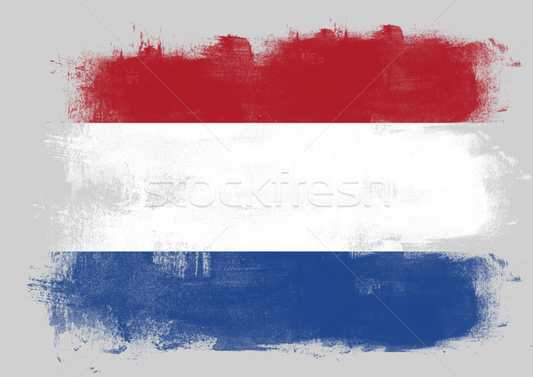 Flag of Netherlands painted with brush Stock photo © tang90246