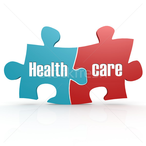 Stock photo: Blue and red with healthcare puzzle