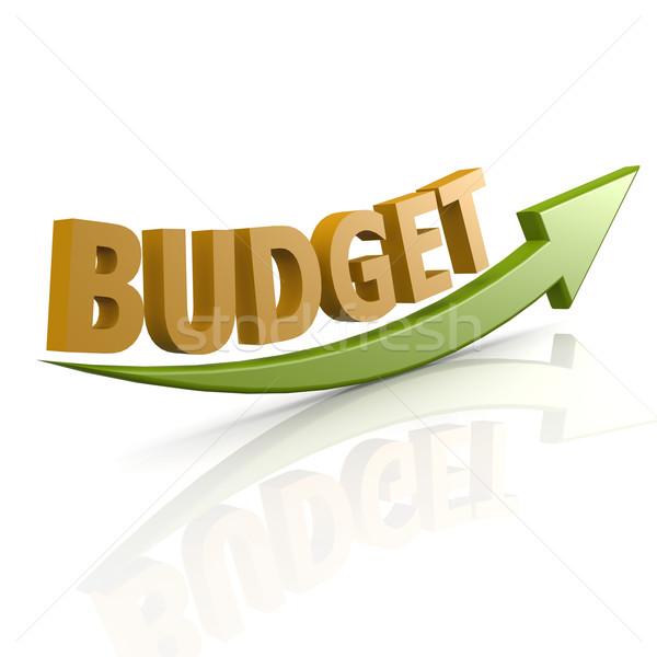 Groene pijl budget woord geld financieren Stockfoto © tang90246