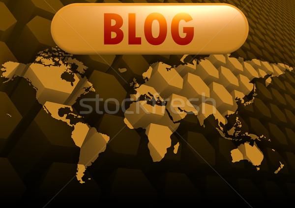 Blog mapa do mundo globo mapa mundo tecnologia Foto stock © tang90246