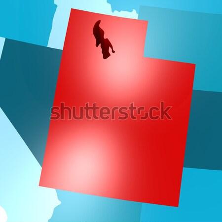 Idaho map on blue USA map Stock photo © tang90246