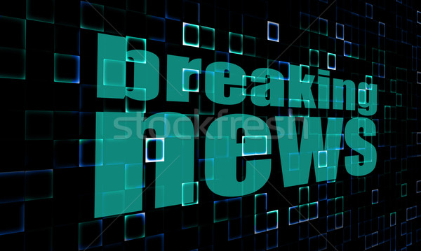 Breaking news pixelated blue wall background Stock photo © tang90246