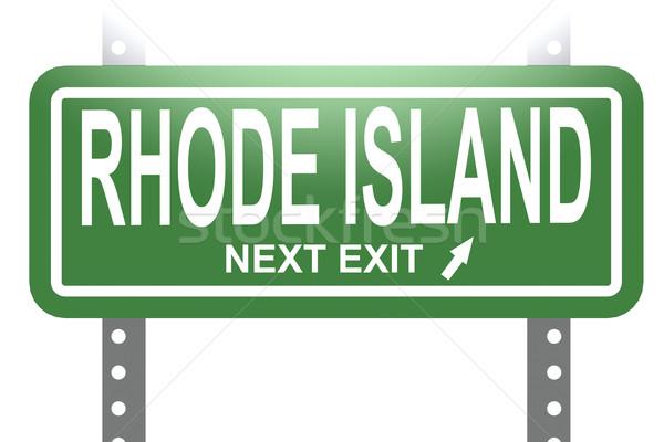 Rhode Island yeşil imzalamak tahta yalıtılmış görüntü Stok fotoğraf © tang90246