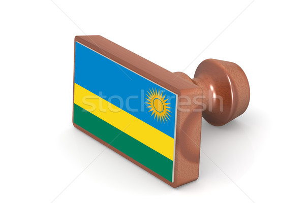 Wooden stamp with Rwanda flag Stock photo © tang90246