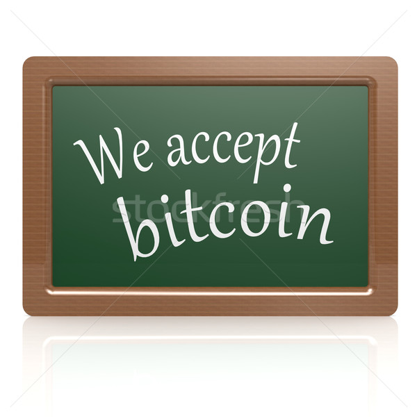 We accept bitcoin black board Stock photo © tang90246