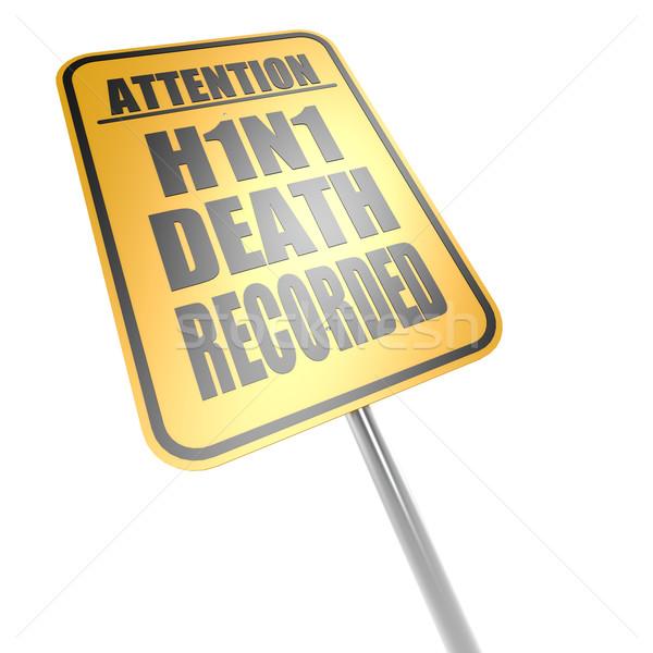 H1n1 morte cartello stradale segno traffico bianco Foto d'archivio © tang90246