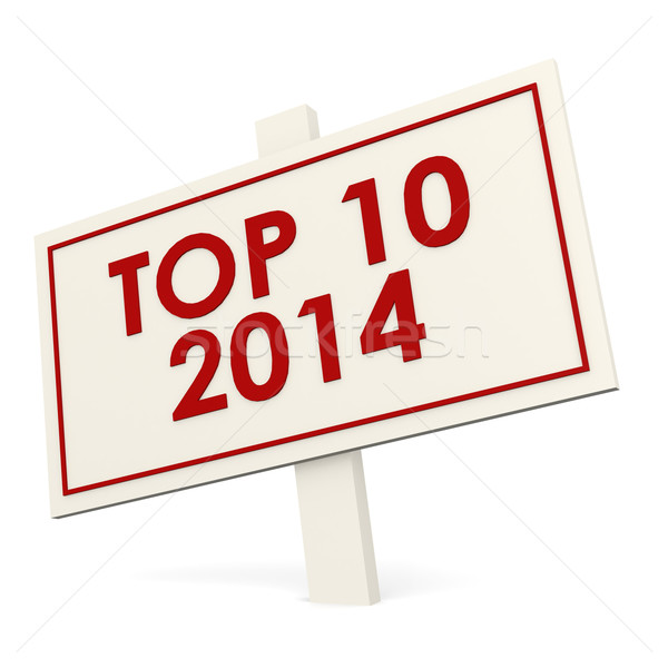Top 10 2014 white banner Stock photo © tang90246