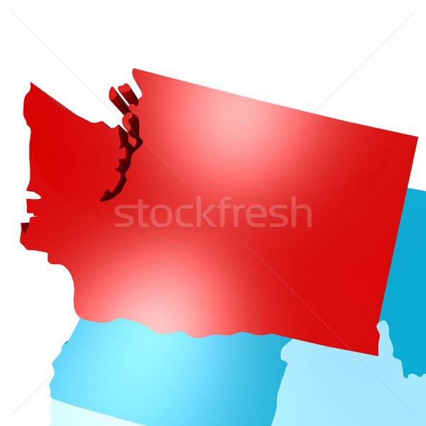Вашингтон карта синий США изображение оказанный Сток-фото © tang90246