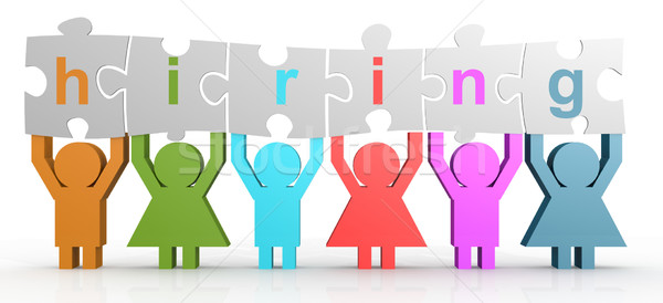 Hiring word puzzle in a line Stock photo © tang90246
