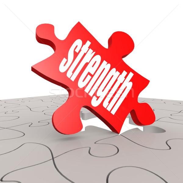 Sterkte woord puzzel afbeelding gerenderd Stockfoto © tang90246