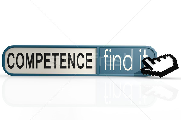 Competence word on the blue find it banner Stock photo © tang90246