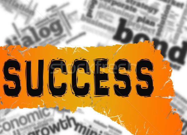 Nuage de mots succès mot jaune rouge bannière Photo stock © tang90246