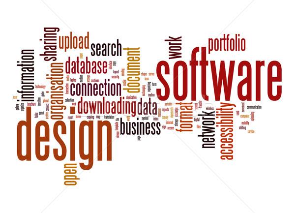 Software design word cloud rete dati ricerca Foto d'archivio © tang90246