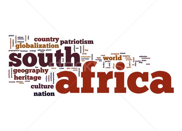 Foto stock: África · do · Sul · nuvem · da · palavra · negócio · mundo · nuvem · planeta