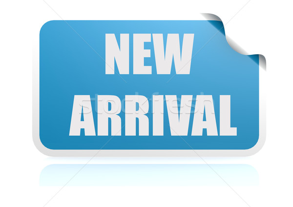 Nuovo arrivo blu adesivo design web Foto d'archivio © tang90246