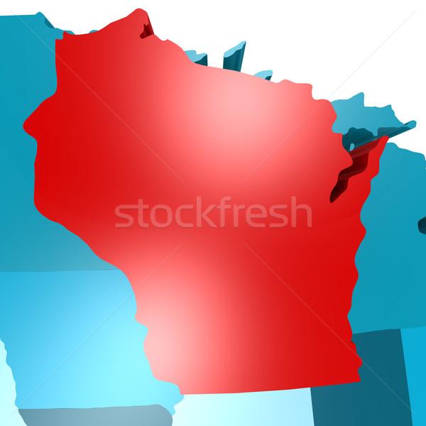 Висконсин карта синий США изображение оказанный Сток-фото © tang90246