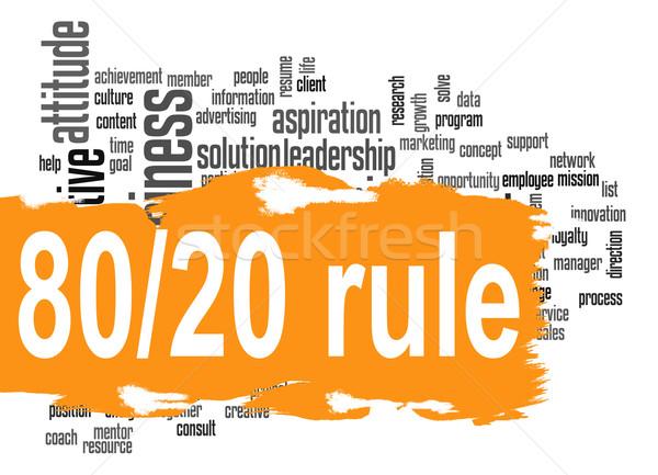 Governar 80 20 nuvem da palavra laranja bandeira Foto stock © tang90246