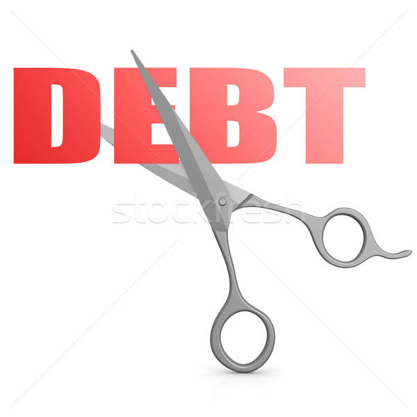 Cut red debt word with scissor Stock photo © tang90246