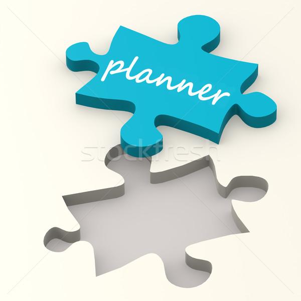 Tervező szó kék puzzle kép renderelt Stock fotó © tang90246
