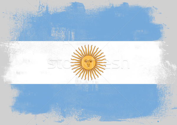 Flag of Argentina painted with brush Stock photo © tang90246
