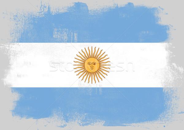 Zászló Argentína festett ecset szilárd absztrakt Stock fotó © tang90246