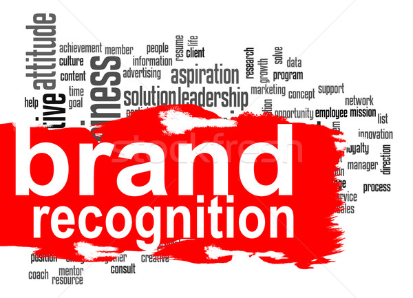 Brand recognition word cloud with red banner Stock photo © tang90246