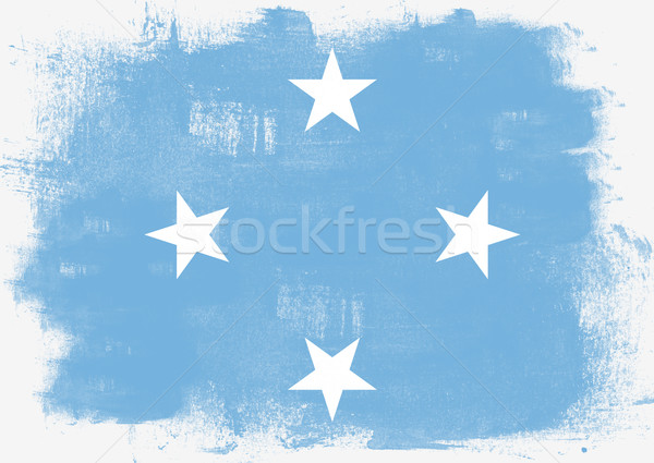 Bandeira Micronésia pintado escove sólido abstrato Foto stock © tang90246