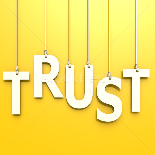 Trust word in yellow background Stock photo © tang90246
