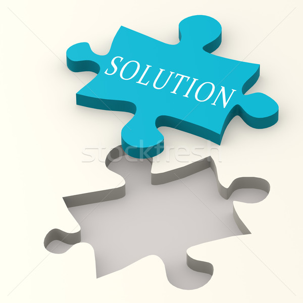 Solution blue puzzle Stock photo © tang90246