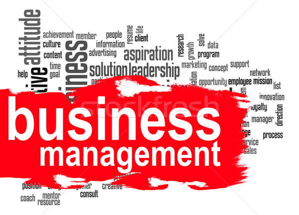 Stock photo: Business management word cloud with red banner
