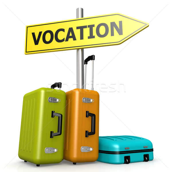 Vocation road sign with luggages Stock photo © tang90246
