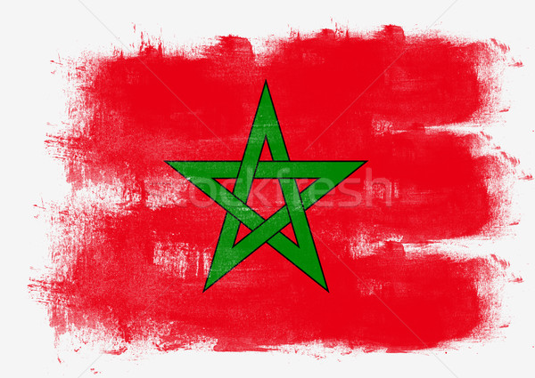 Vlag Marokko geschilderd borstel solide abstract Stockfoto © tang90246