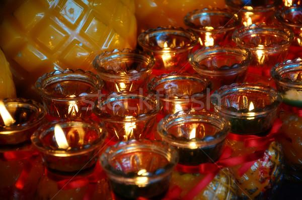 Tempio candele trasparente rosso giallo segno Foto d'archivio © tang90246
