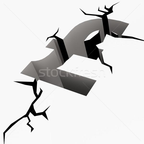Crack suelo libra signo dinero seguridad Foto stock © tang90246