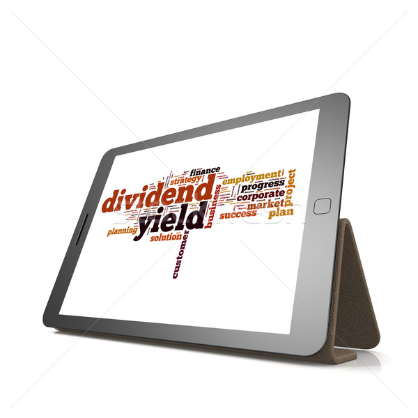 Dividend yield word cloud on tablet Stock photo © tang90246