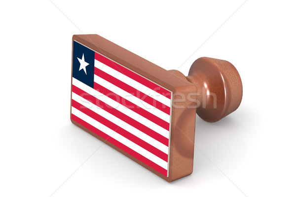 Wooden stamp with Liberia flag Stock photo © tang90246