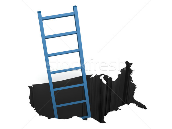 Blue ladder out of USA map  Stock photo © tang90246