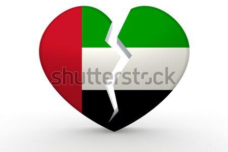 Broken white heart shape with UAE flag Stock photo © tang90246