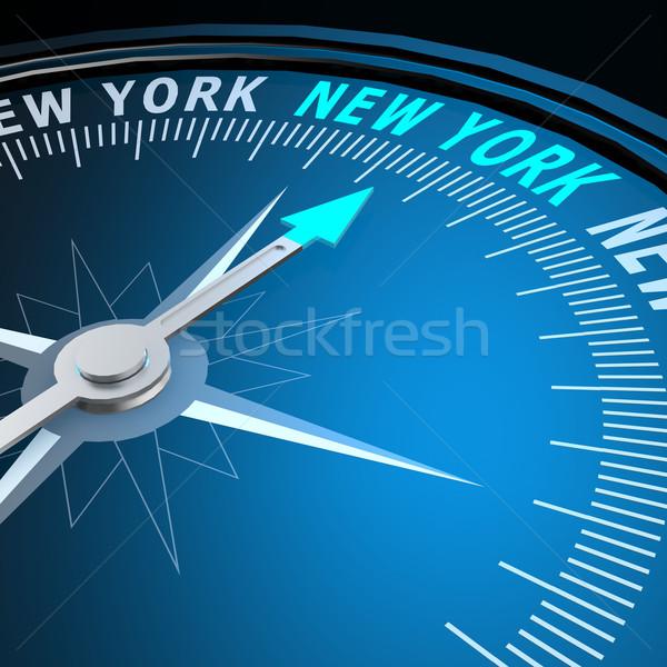 New York woord kompas afbeelding gerenderd Stockfoto © tang90246